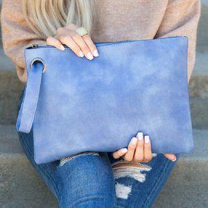 AVERY Slate Blue Oversized Vegan Leather Clutch